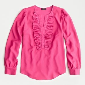 Long-sleeve ruffle-front top in satin crepe Pink